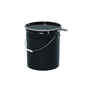 5 Gallon Black 28-26 Gauge Metal Open Head Pail w/Buff Lining & Cover