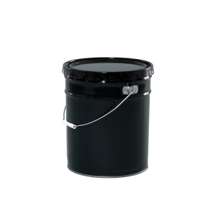 5 Gallon Black 28-26-24 Gauge Metal Open Head Pail w/Clear Lining & Cover