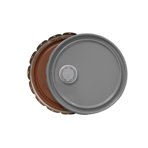 3.5-5 Gallon Grey 24 Gauge UN RFI Cover w/Red-Brown Lining