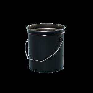 2 Gallon Black 28 Gauge Metal Open Head Pail w/Rust Inhibitor Lining & Cover