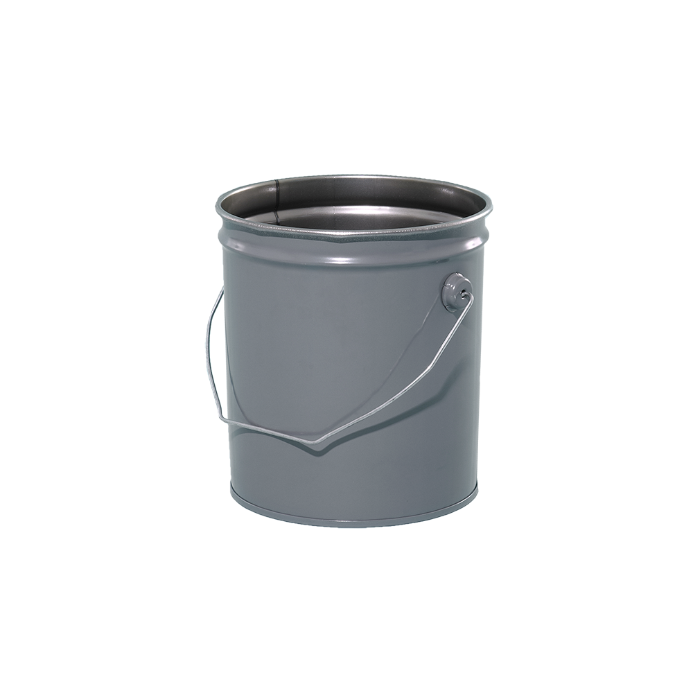 2 Gallon Grey 28 Gauge Metal Open Head Pail Wrust Inhibitor Lining