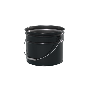 3.5 Gallon Black 29 Gauge Metal Open Head Pail w/Rust Inhibitor Lining & Cover
