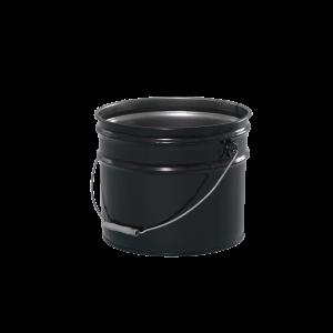 3.5 Gallon Black 29 Gauge Metal Open Head Pail w/Rust Inhibitor Lining & Cover