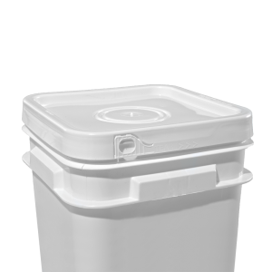 2.1-5 Gallon White Plastic Square Open Head EZ Lid w/Solid Tear-Strip