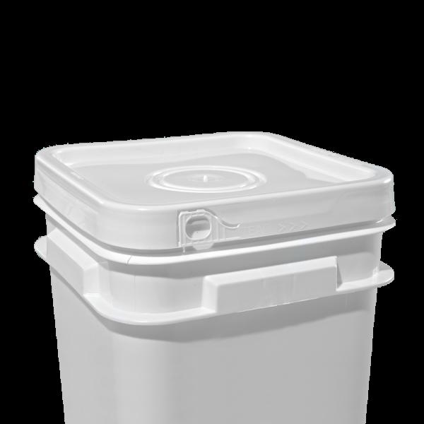 2.1-5 Gallon White Plastic Square Open Head EZ Lid w/Solid Tear-Strip