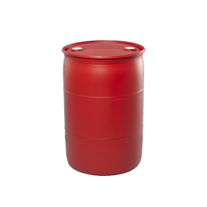 55 Gallon Red Tight Head Plastic Drum