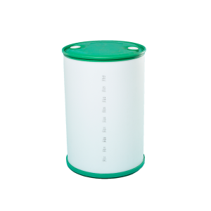 55 Gallon Natural Tight Head Plastic Drum w/Green Top/Bottom