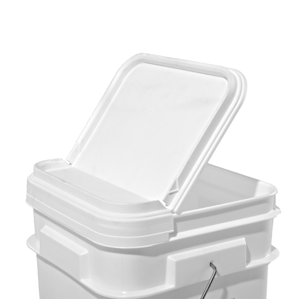 2.1-5 Gallon White Plastic Square Open Head Hinged Lid w/Tear-Strip
