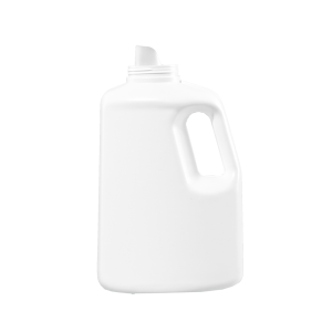 128 oz White HDPE Laundry Drainback Bottle, 70mm