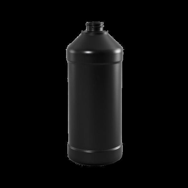 32 oz Brown BARRIER Plastic Modern Round Bottle, 28-400