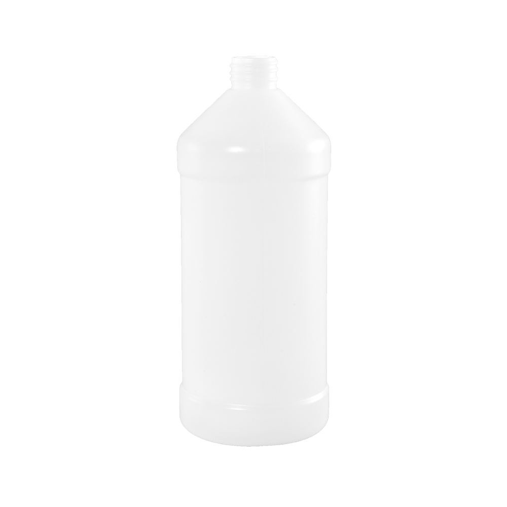 32 oz Natural HDPE Plastic Modern Round Bottle, 28-410