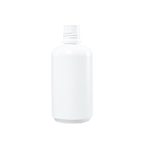 32 oz White HDPE Plastic Boston Round Bottle, 38-430