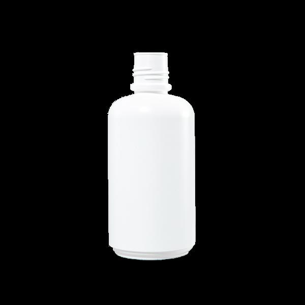 32 oz White HDPE Plastic Boston Round Bottle, 38-430