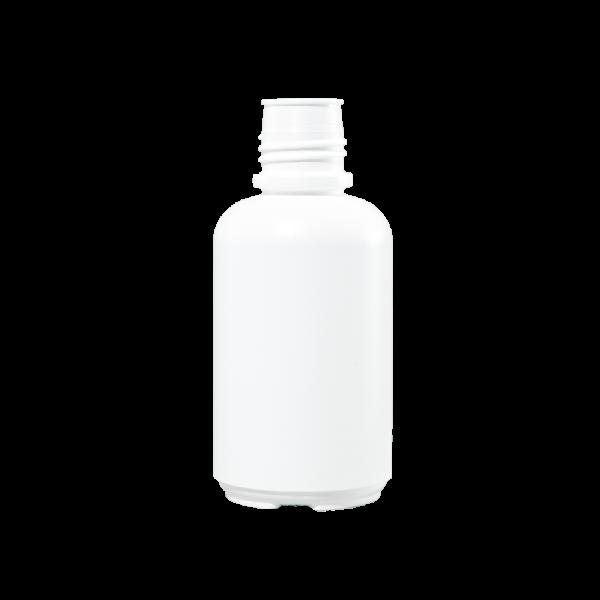 16 oz White HDPE Plastic Boston Round Bottle, 38-430