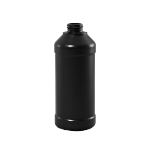 16 oz Brown BARRIER Plastic Modern Round Bottle, 28-400