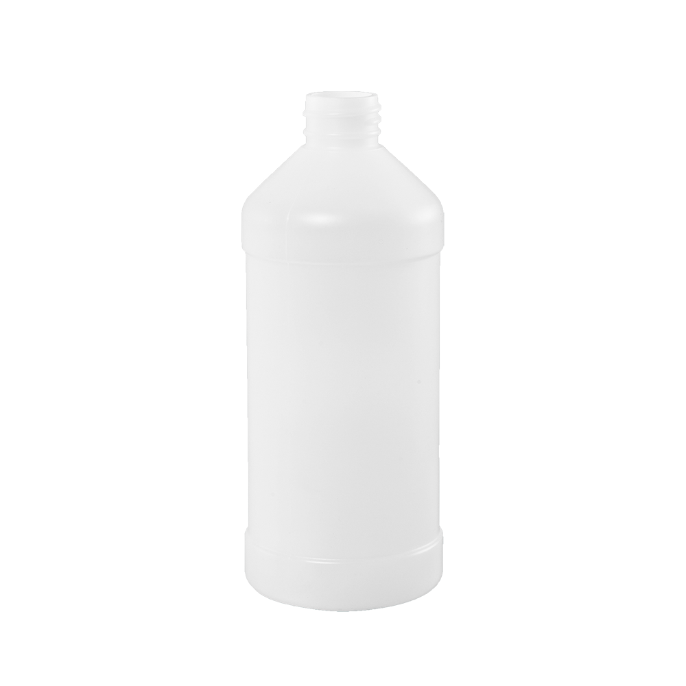 16 oz Natural HDPE Plastic Modern Round Bottle, 28-410