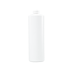 16 oz White HDPE Plastic Cylinder Bottle, 28-400