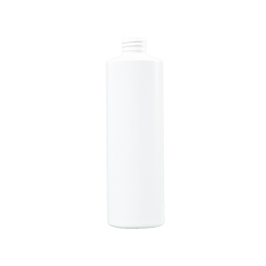 16 oz White HDPE Plastic Cylinder Bottle, 28-410, FTL3