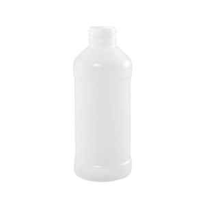 8 oz Natural HDPE Plastic Modern Round Bottle, 28-410