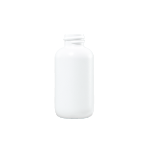 1 oz White HDPE Plastic Boston Round Bottle, 18-410