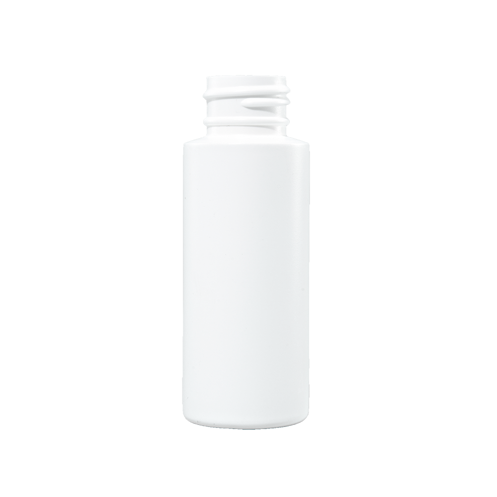 2 oz White HDPE Plastic Cylinder Bottle, 24-410