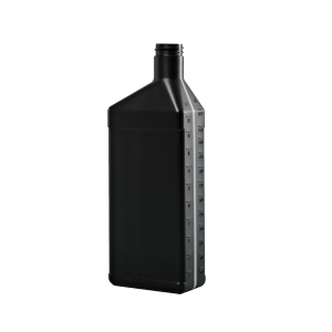 32 oz. Black HDPE Plastic Offset Neck Oil Oblong Automotive Bottle, 28-400