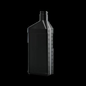 32 oz. Black HDPE Plastic Offset Neck Oil Oblong Automotive Bottle, 28-400