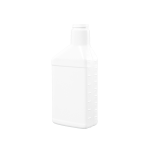 16 oz. White Plastic Offset Neck Oil Oblong Automotive Bottle, 33-400