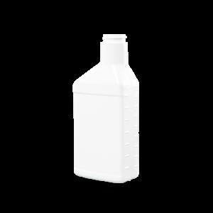 16 oz. White Plastic Offset Neck Oil Oblong Automotive Bottle, 33-400