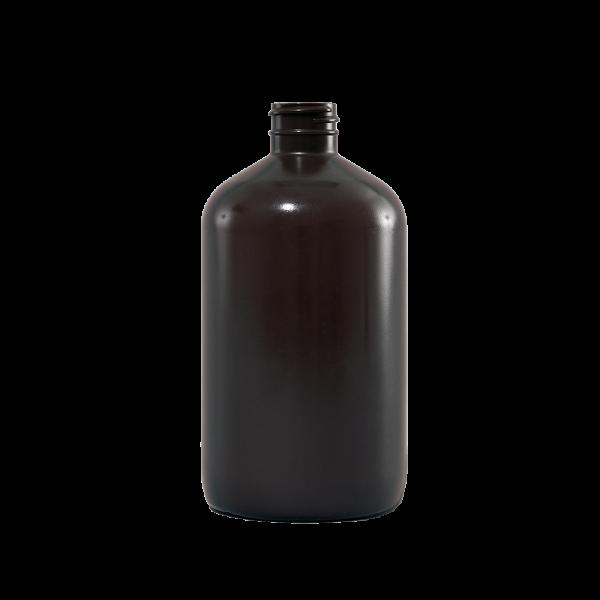 16 oz Brown Plastic Boston Round Bottle, 28-400