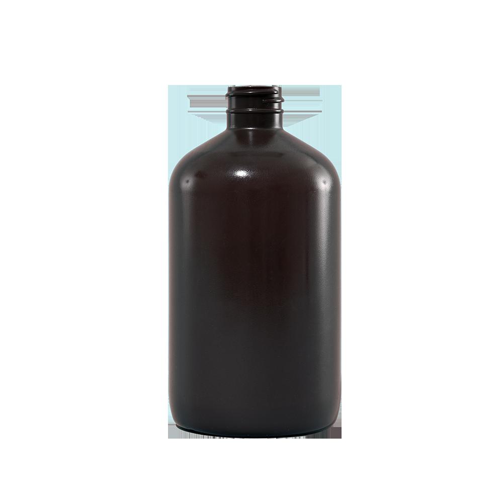 1dd88c615e86 16 oz Brown Plastic Boston Round Bottle, 28-400 - Illing Company