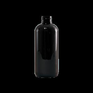 8 oz Amber PET Plastic Boston Round Bottle, 28-400