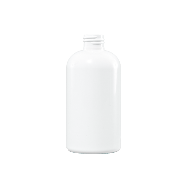 8 oz White PET Plastic Boston Round Bottle, 24-410