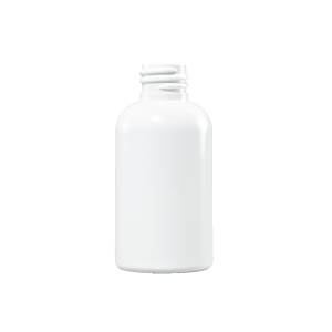 2 oz White PET Plastic Boston Round Bottle, 20-410