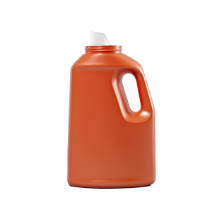 64 oz Orange HDPE Laundry Drainback Bottle, 70mm