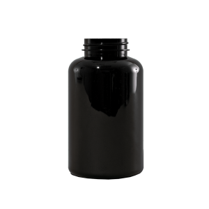 400 cc Black PET Plastic Packer Bottle,