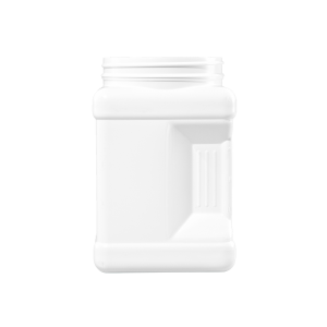 64 oz. White HDPE Plastic Square Pinch Grip Container, 110-400